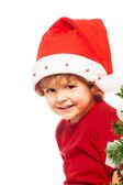 男孩戴着圣诞帽 — 图库照片