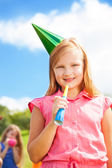 Girl and birthday portrait — Stock Photo