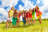 Many girl in a friends — Stock Photo