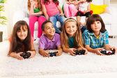 Fun playing video games — Stock Photo