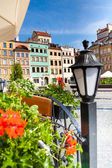 Cozy old town square in Warsaw — Stock Photo