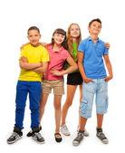 Dört çocuk tam yükseklikte — Stok fotoğraf