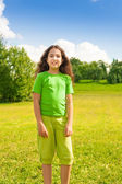 Smiling girl in te park — Stock Photo