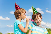 Two kids pranking — Stock Photo