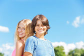 Close portrait of couple of kids — Stock Photo