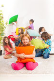 Pillow fight with kids — Stock Photo