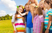 Image with friends on cell phone — Stock Photo