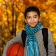 Basketball in autumn — Stock Photo