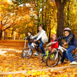 Brothers and sister riding bicycles — Stock Photo