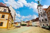 Loket main square and church — Stock Photo