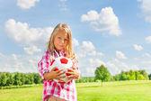 Blond girl with ball — Stock Photo