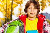 Boy after school — Stockfoto