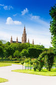 Vienna town hall from the park — Stock Photo