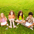 Kids drawing on the lawn — Stock Photo