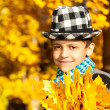 Boy in hat with maple leaves — Foto de Stock