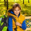 Stock Photo: Boy with rucksack