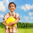 Stock Photo: Boy holding yellow volleyball