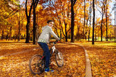 Boy riding a bicycle — Stock Photo