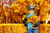 Boy with maple leaves bouquet — Stock Photo