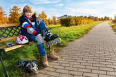 Boy with roller skates — Stock Photo