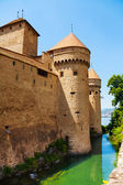 Chillon castle walls and towers — Stock Photo