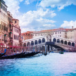Rialto Bridge and grand canal — Stock Photo