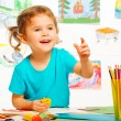 Laughing girl in kindergarten — Stock Photo