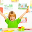 Boy with color pencils — Stock Photo