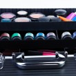 Shelves in makeup case — 图库照片