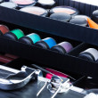 Shelves in open makeup case — Stock Photo