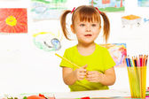 Cute girl in the preschool art class — Stock Photo
