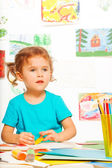 Little girl in class — Stock Photo