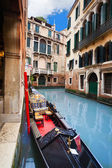 Gondola embarked on canal — Stock Photo