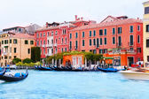 Grand canal with boats — Foto de Stock