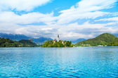 Bell tower on island Bled — Stock Photo