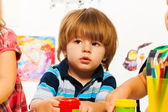 Little boy in the art  classroom — Foto Stock