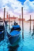 Gondolas docked in Venice — Stok fotoğraf