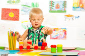 Boy in the preschool art class — Foto Stock