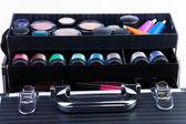 Shelves in makeup case — Stock Photo