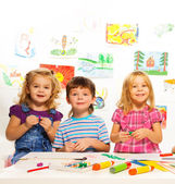 Creative kids on the lesson — Stock Photo