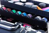 Shelves in open makeup case — Stock Photo