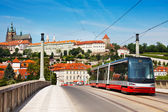 Modern tram in Prague — Stock Photo