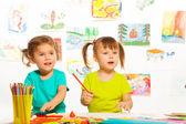 Girls in kindergarten lesson — Stock Photo