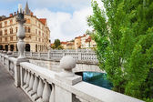 Triple bridge in Ljubljana — Stock Photo