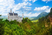 Panorama of Neuschwanstein castle — Stock Photo