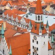 Old Town Hall with red roofs city view — Stock Photo