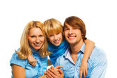 Mom, dad and son portrait together — Stock Photo