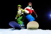 Los snowboarders listo para deslizar — Foto de Stock