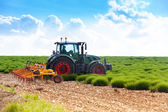 Tractor cultivating land — Stock Photo