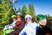 Smiling snowboarders — Stok fotoğraf